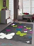 Kinderteppich Spielteppich Kinderzimmer Teppich Schmetterling Design mit Konturenschnitt Grau Pink