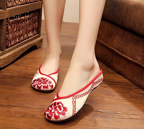 DESY scarpe ricamate, unico tendine, stile etnico, femminile caduta di vibrazione, modo, comodo, sandali Red