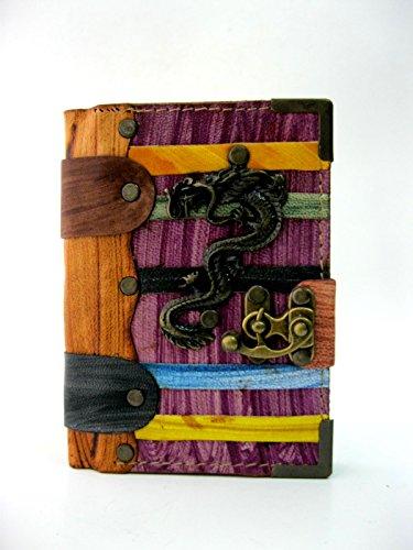 Cuaderno diario de piel con Embleme de Dragon en Multi Color