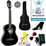 \'Stretton Payne\' Guitare GAUCHERS Acoustique Classique 3/4 Pack - Noire - Avec Housse et Accordeur électronique et Mediator et Cours de guitare en ligne