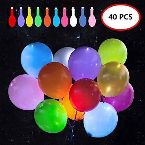 Jolitac 40 Stück LED Luftballon Leuchtende Ballons Blinkendes Licht Bunte schöne leuchten Ballons für Party, Geburtstag, Hochzeit, Festival, Weihnachten (Leuchten Ballon Blinkender)
