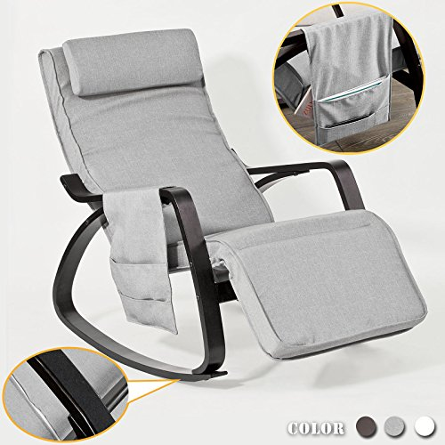 SoBuy® NEU Schaukelstuhl mit Tasche (verstellbares Fussteil),Relaxstuhl,Relaxsessel, schwarzes Gestell, FST20-HG