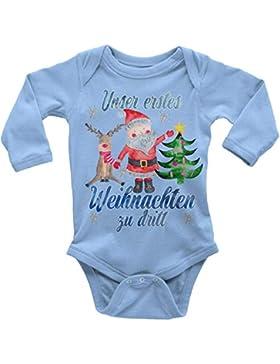 Mikalino Babybody Langarm Unser erstes Weihnachten zu dritt blau