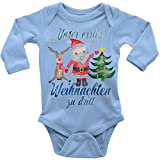 Mikalino Babybody Langarm Unser erstes Weihnachten zu dritt blau, Farbe:Sky, Grösse:86/92