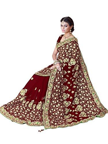Nähen Keine Indischen Kostüm - MirchiFashion Damen Designer Stickerei Arbeit Sari mit Ungesteckt Oberteil/Top Hochzeits Braut Saree