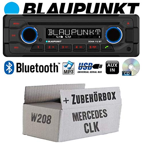 Autoradio Radio Blaupunkt Doha - Bluetooth CD MP3 USB - Einbauzubehör - Einbauset für Mercedes CLK W208 - JUST SOUND best choice for caraudio