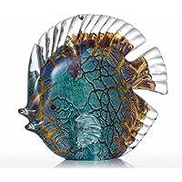 Escultura de Vidrio Vistoso Peces Tropicales Manchados Decoración Hogareña Peces de Vidrio de Tooarts
