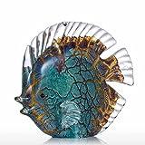Tooarts Scultura in Vetro di Forma Pesci Tropicali Maculato, Colore Multicolor 14cm