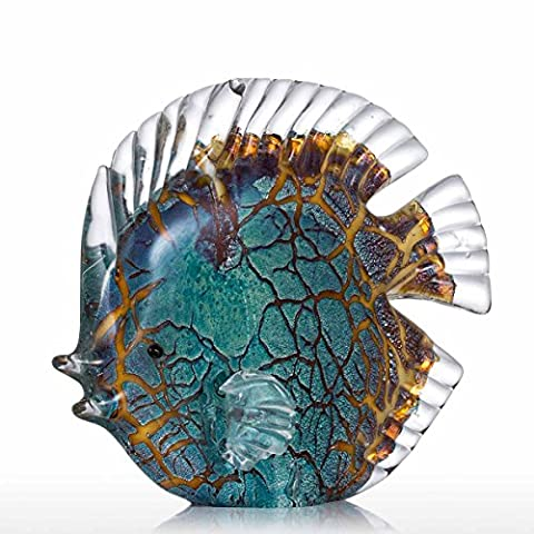 Tooarts Glass Sculpture Home Decoration Glass Fish Modern Sculpture Colorful Spotted Tropical Fish
