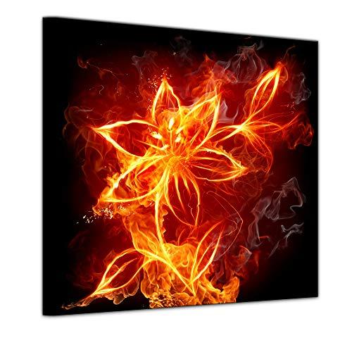 Wandbild - Feuerlilie - Bild auf Leinwand - 60 x 60 cm - Leinwandbilder - Bilder als Leinwanddruck - Kunst & Life Style - Lilie im Flammendesign