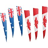 MagiDeal 4'' National Flag Pattern Archery Right-Wing Shield Arrow Fletching Fletches - Pack of 6