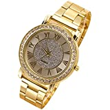 Sanwood Men's Gold Plated Crystal Alloy Wrist Watch
