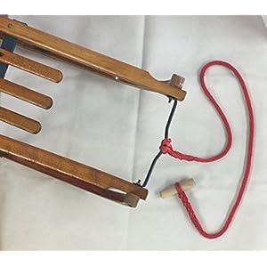 Ziehseil für Schlitten rot geflochten mit Holzknauf