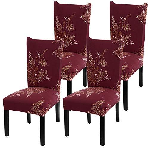 YISUN Universal Stretch Stuhlhussen 4er 6er Set Stuhlbezug für Stuhl Esszimmer (4er Set, ROT)