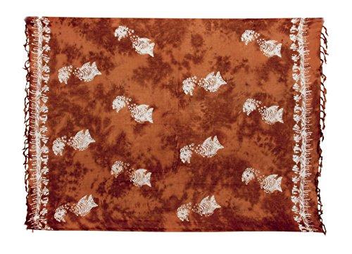 Sarong ca. 170cm x 110cm Handgearbeitet inkl. Sarongschnalle im Schmetterling Design - Viele exotische Farben und Muster zur Auswahl - Pareo Dhoti Lunghi Fisch Braun Batik