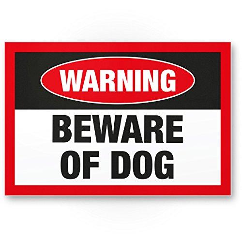Warning Beware of Dog (schwarz) - Hunde Kunststoff Schild, Hinweisschild Gartentor/Gartenzaun - Türschild Haustüre, Warnschild Abschreckung/Einbruchschutz - Achtung/Vorsicht Hund