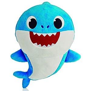 Baby Shark- Peluche Musical Daddy Shark, Color Azul (Bandai SS92512)