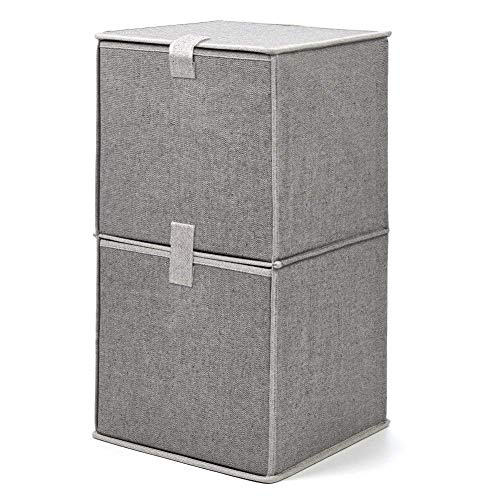 faltboxen stoff EZOWare Faltbare Aufbewahrungsbox, Organizer Schubladen Faltbox Faltschrank aus Stoff mit 2 Entagen - Hellgrau