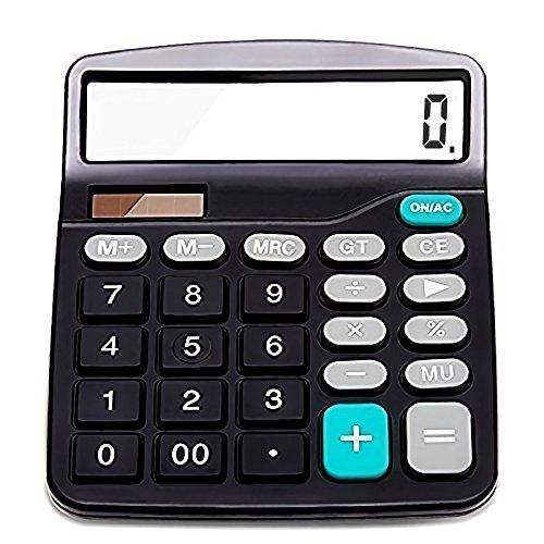 (Taschenrechner, Standard Taschenrechner, Sonnenenergie und Batterie betrieb, 12-stelligem, Großes LCD-Display, Großer Knopf, Desktop Rechenmaschine, Schwarz)
