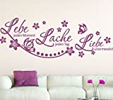 Wandora Spruch Lebe Lache Liebe + Blumenranke & Schmetterlinge I dunkelrot (BxH) 75 x 29 cm I Wandtattoo Schlafzimmer Wandaufkleber Wandsticker Aufkleber G037