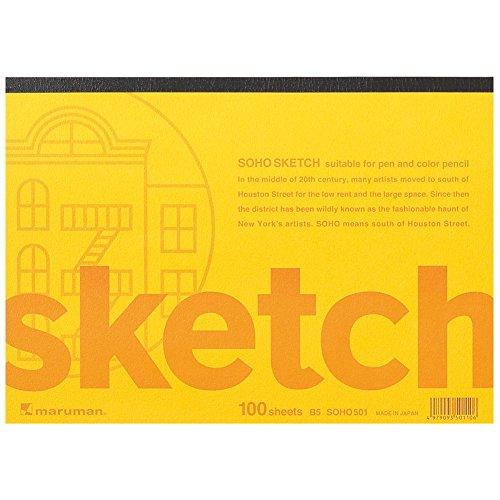 100 Blatt Zeichenpapier helle Soja Maruman Skizzen Soho Serie B5 (s_urefreiem Papier) 96,5 g / qm SOHO501 (Japan-Import) Qm-serie