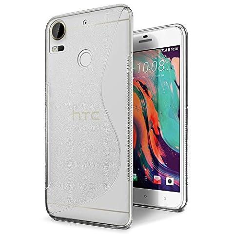 Coque HTC Desire 10 Pro, SLEO Transparent Protection en TPU S-line Incassable Arrière Flexible Silicone Gel Shell Translucide Anti-Rayure Antichoc [Ultra Fit] Souple Housse Etui Coque pour HTC Desire 10 Pro - Crystal clair