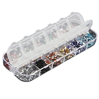 3000 Stück 12 Farben Nagel Art Strassstein Glitter Strass UV Gel Acryl 1,5mm