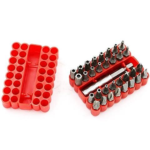 QHGstore 33 Stück Sicherheitsschraube Hex Bit Head Set 1/4