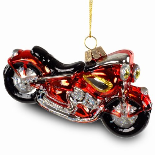 SIKORA Christbaumschmuck Glas Ornament / MOTORRAD / HARLEY - L:12cm