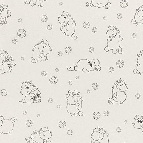 Rasch Papier Tapete - Größe: 0,53 x 10,05 m - Farbe: weiß, schwarz - Stil: Motiv (kindgerecht, jugendlich)