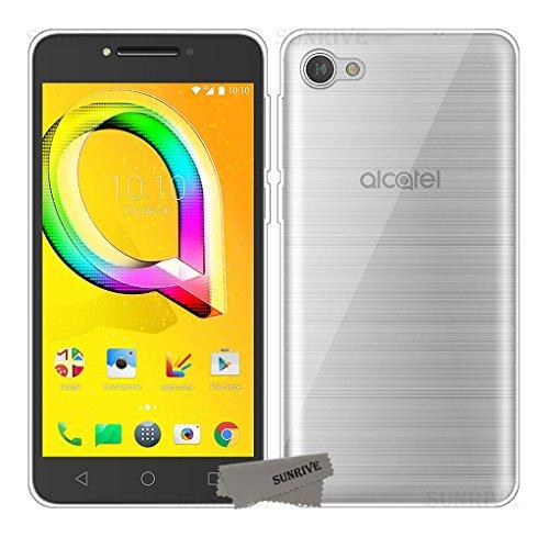 Sunrive Alcatel A5 Led Hülle Silikon, Transparent Handyhülle Schutzhülle Etui Case Backcover für Alcatel A5 Led(TPU Kein Bild)+Gratis Universal Eingabestift