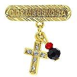 In Season Jewelry Chapado en Oro 14k Azabache Simulado Amuleto Cruz Broche de Protección Contra el...