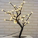Albero Luminoso 45 cm a LED con 48 Fiori di Ciliegio Luci Led Natale Interno Luci Decorative Led , Scrivania, Comodino, bianco caldo