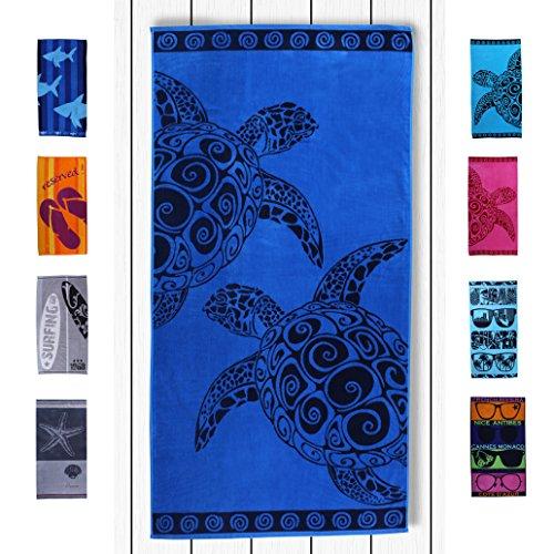DecoKing 20432 Strandtuch 90x180 cm Baumwolle Frottee Velours Badetuch Duschtuch dunkelblau Marineblau blau Navy Turtle