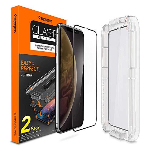 Spigen, 2Pezzi, Pellicola Vetro temperato iPhone XR (6.1, Ez Fit, Kit di Installazione Incluso, Custodia Compatibile, Compatibile con Face ID