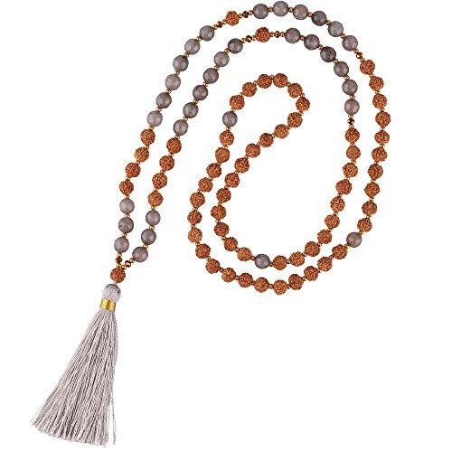 KELITCH Hinduismus Mala Rudraksha Achat Meditation Gebet Kette mit Braun Quaste Anhänger - Grau D