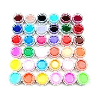 Hilai 36 Farben 36 farbgel UV gel für nägel, Gelnägel Farben Farbe Nagellack Nail Polish Nagel Farbgel Mischung Glitzer UV Aufbau Gel Kunst Nail Art Glittergel