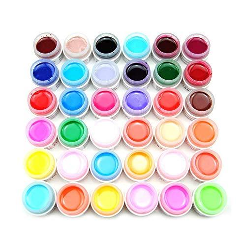 Asien 36 colores sólido puro color de la mezcla de acrílico UV Gel de construcción Set para las extremidades del arte del clavo