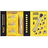 #9: Scout 41 in 1 Tool Kit - Mini Ratcheting Spanner Socket Set with Micro Driver Bits for Professional Repair, Home Users, Electrical Fitting