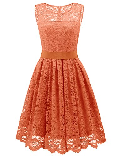 Wedtrend Damen Elegant Spitzenkleid Cocktailkleider Brautjungfernkleid Partykleid DWT10103Orange L