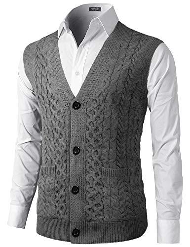 COOFANDY Pullunder Herren Casual Argyle Ärmellos V-Ausschnitt Strickweste Business Weste Einfarbig Wollweste für Männer,Grau,XL -