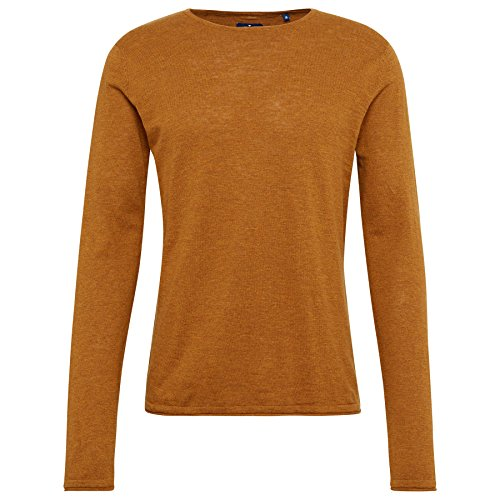 Tom Tailor für Männer knit schlichter Pullover dried mango orange melange