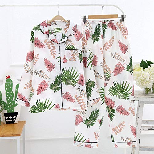 TENGTENGCAI Herbst Mode Frauen Schlafanzüge Sets Blätter drucken Lange Nachthemd Baumwolle Nachtwäsche Homewear Pink XL - Drucken Baumwoll-nachthemd