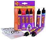 Kreul 49790 - PicTixx Kerzenpen Set, Flüssigwachs zum Beschriften, Verzieren und Bemalen von einfachen Kerzen, 4 x 29 ml in gelb, rot, blau und gold sowie Wachsfolie und Vorlage