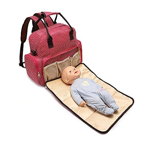 JINSANSHUN Neumodisch Multifunktionale Mama-Beutel Handtaschen großer Kapazität Kinderwagen Umhängetasche Windeln Wasserdicht Pflegetasche Kinderwagentasche mit eine Falt-Windel Wickelauflage - Rot (Falt-handtasche Neue)