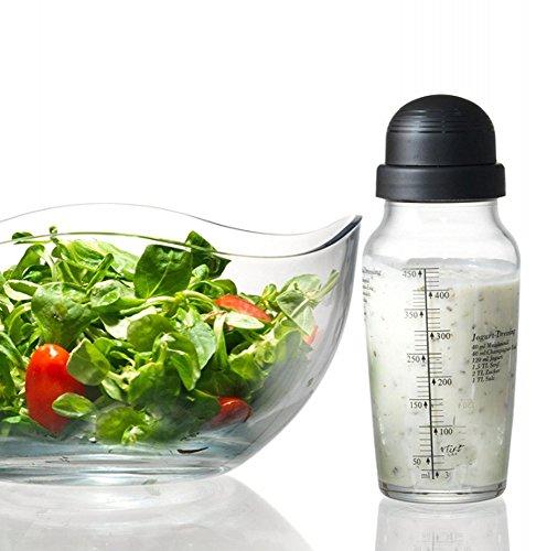 Dressing Shaker für Salatsaucen ,Glas mit Maß-Einteilung + Rezepten Ritzenhoff&Breker