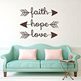 Stonges Wall Decals Faith Hope Love Family Wall Quotes Bible Verses Arrow Art Mural Psalms Vinyl Stickers Bedroom Living Room Decor