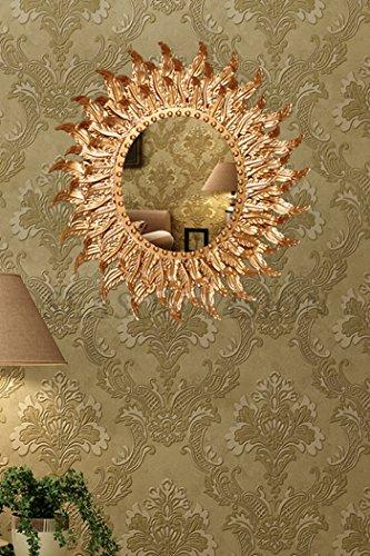 Dipamkar® - Espejo de pared decorativo con marco de metal de estilo vintage francés con elementos decorativos dorados, metal, dorado, 54 x57