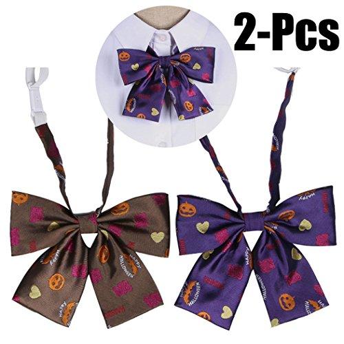 Zoylink 2 Stück Halloween Fliege Schleife Fliege Lustige Kürbis Druck Uniform Krawatte für Frauen