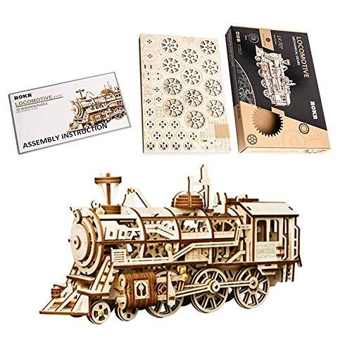 Falliback Láser Corte 3D Puzzle De Madera Locomotora Modelo De Artesanía con Engranajes Mecánicos Estéreo para Niños Ensamblaje Manual Modelo De Vehículo Edificio Kit De Ingeniería Juguetes para